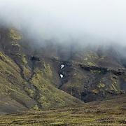 Mountain wall with mist, Kaldidalur higlands, western route. IJsland 2017