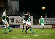 24th January 2018, Dens Park, Dundee, Scottish Premiership, Dundee versus Hibernian; Dundee's Matty Hanvey misses a great chance late in the match