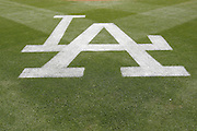 LOS ANGELES, CA - APRIL  21:  The LA logo is painted on the grass before the game between the Atlanta Braves and the Los Angeles Dodgers on Thursday, April 21, 2011 at Dodger Stadium in Los Angeles, California. The Dodgers won the game 5-3 in 12 innings. (Photo by Paul Spinelli/MLB Photos via Getty Images)
