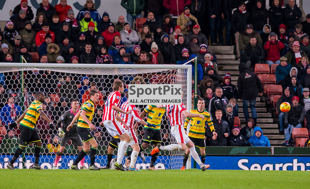Stoke City defender Ryan Shawcross (17) prepares to get a shot in on the Norwich goal