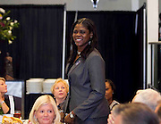 Former University of Miami star and 2008 ACC Legend inductee Octavia Blue is recognized at the 2011 ACC Legends Banquette held at the Terrace Greensboro Coliseum Complex  in Greensboro, North Carolina.  (Photo by Mark W. Sutton)