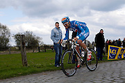 France, Valenciennes, Sunday 11th April 2010: BBox's Saïd Haddou in action on section 16, Hornaing à Wandignies-Hamage (3,7km) pave during the 108th edition of the Paris Roubaix cycle race. Copyright 2010 Peter Horrell.