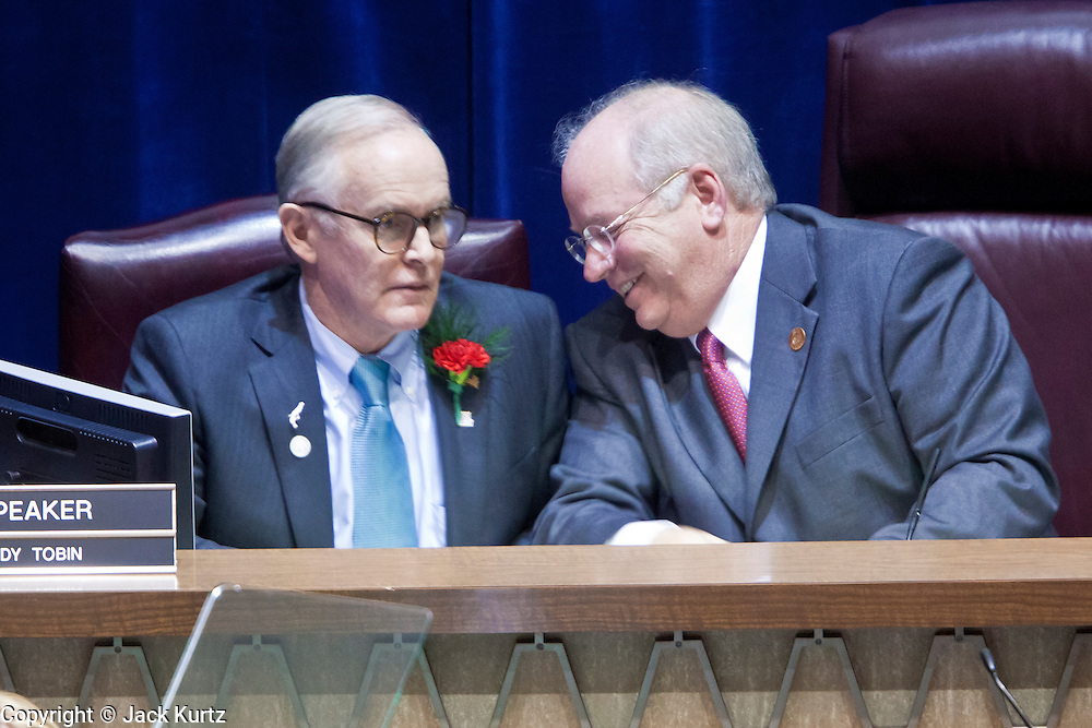 09 JANUARY 2012 - PHOENIX, AZ:   Sen President Steve Pierce and Speaker of the House Andy Tobin joke before the Gov enters the chamber at the state legislature Monday. Gov Brewer delivered her State of the State inside while outside representatives of interest groups picketed and protested.    The Arizona legislature started its 2012 session and Gov. Jan Brewer delivered her State of the State Monday, Jan 9.                   PHOTO BY JACK KURTZ