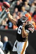 Sept. 19, 2010; Cleveland, OH, USA; Cleveland Browns quarterback Seneca Wallace (6) during the fourth quarter against the Kansas City Chiefs at Cleveland Browns Stadium. Mandatory Credit: Jason Miller-US PRESSWIRE