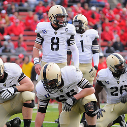 10 November 2012: Army Black Knights quarterback Trent Steelman (8) looks to the sideline for the play call during NCAA college football action between the Rutgers Scarlet Knights and Army Black Knights at High Point Solutions Stadium in Piscataway, N.J..