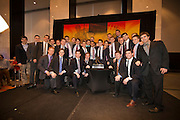 2014 Hobey Baker Award winner Johnny Gaudreau (Boston College) with his team mates at the Loews Hotel, Center City in Philadelphia, PA Friday April 11th 2014<br /> <br /> Mandatory Credit: Todd Bauders/ ContrastPhotography.com