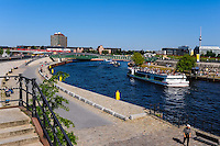 Berlin, Germany. The River Spree. Berlin Central Station, Hauptbahnhof, in the background.
