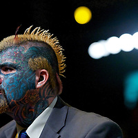 Body Art from Birmingham attends a voting session during the Liberal Democrat Conference at the ICC.