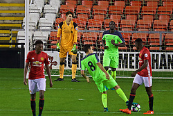 LEIGH, ENGLAND - Tuesday, October 18, 2016: Liverpool's goalkeeper Tamil Grabara looks dejected as Manchester United score an equalising goal to seal a 1-1 draw during the FA Premier League 2 Under-23 match at Leigh Sports Village. (Pic by David Rawcliffe/Propaganda)