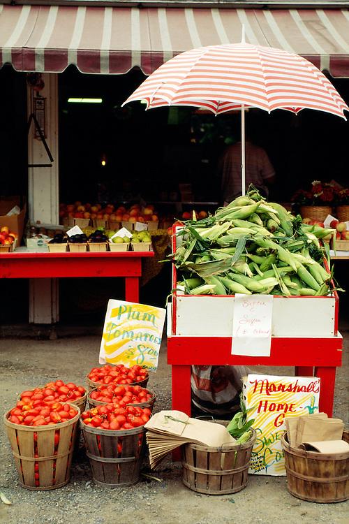 NJ, Warren County, rural vegetable stand.