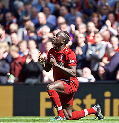 LIVERPOOL, ENGLAND - Sunday, May 12, 2019: Liverpool's Sadio Mane celebrates scoring the first goal during the final FA Premier League match of the season between Liverpool FC and Wolverhampton Wanderers FC at Anfield. (Pic by David Rawcliffe/Propaganda)
