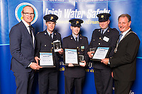 Dublin - Ireland, Tuesday 8th November 2016:<br /> Simon Coveney TD, Minister for Housing, Planning & Local Government with 'Seiko Just In Time Award' recipients Gardai Kevin Williamson, Michael Murphy, John O'Sullivan and Martin O'Sullivan, Chairman of Irish Water Safety at the annual Irish Water Safety Awards held at Dublin Castle.  Photograph: David Branigan/Oceansport