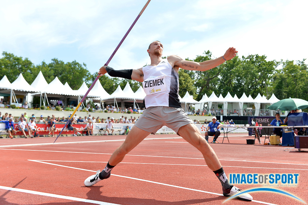 Zach Ziemek (USA) throws 188-7 (57.49m) in the javelin during the decathlon at the DecaStar meeting, Saturday, June 23, 2019, in Talence, France.  Ziemek placed second with 8,344 points. (Jiro Mochizuki/Image of Sport)