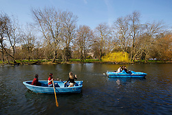 © Licensed to London News Pictures. 02/04/2016. London, UK. People boating whilst enjoying sunshine and warm weather in Regent's Park in London on Saturday, 2 April 2016. Photo credit: Tolga Akmen/LNP