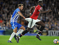 Football - 2017 / 2018 Premier League - Brighton & Hove Albion vs. Manchester United<br /> <br /> Paul Pogba of Man Utd has his shorts pulled by Dale Stephens, at The Amex.<br /> <br /> COLORSPORT/ANDREW COWIE