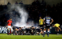 Steam rises into the cold air as Sale Sharks and Saracens scrum - Mandatory by-line: Robbie Stephenson/JMP - 18/12/2016 - RUGBY - AJ Bell Stadium - Sale, England - Sale Sharks v Saracens - European Champions Cup