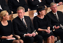 September 7, 2016 - Berlin, Berlin, Germany - Former German Presidents Christian Wulff (2.f.L) and Horst Koehler and their wives Bettina Wulff (L) and Eva Luise have taken their seats at the act of state for former German President Walter Scheel in the Berlin Philharmonic in Berlin,Germany, 07 September 2016. Scheel died on 24 August 2016 at the age of 97. Photo:MICHAELKAPPELER/POOL/dpa (Credit Image: © Michael Kappeler/DPA via ZUMA Press)