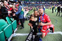 Matt GITEAU et sa famille - 02.05.2015 - Clermont / Toulon - Finale European Champions Cup -Twickenham<br />Photo : Dave Winter / Icon Sport