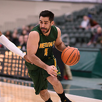 5th year guard Alex Igual (4) of the Regina Cougars during the Men's Basketball home game on January 6 at Centre for Kinesiology, Health and Sport. Credit: Arthur Ward/Arthur Images
