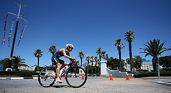 Maude Elaine Le Roux of South Africa during the Elite Women race of the Discovery Triathlon World Cup Cape Town leg held at Green Point in Cape Town, South Africa on the 11th February 2017.<br /> <br /> Photo by Shaun Roy/RealTime Images
