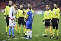 February 14, 2019 - Prague, CZECH REPUBLIC - Slavia's Milan Skoda and Genk's Leandro Trossard pictured before the start of a soccer game between Czech club SK Slavia Praha and Belgian team KRC Genk, the first leg of the 1/16 finals (round of 32) in the Europa League competition, Thursday 14 February 2019 in Prague, Czech Republic. BELGA PHOTO YORICK JANSENS (Credit Image: © Yorick Jansens/Belga via ZUMA Press)
