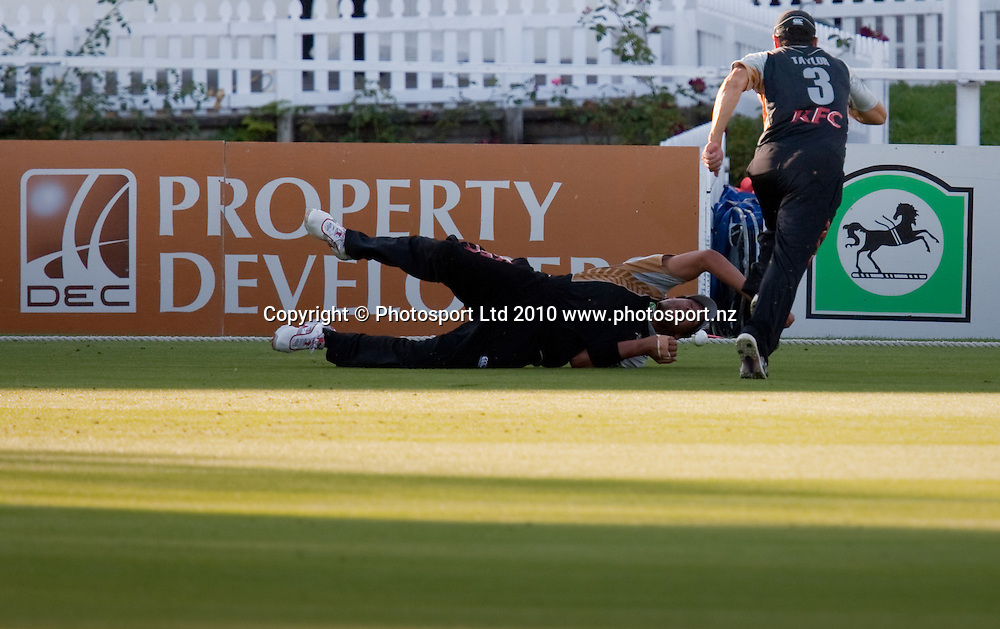 A misfield  sees an early boundary for Bangladesh during the National Bank Twenty20 Series cricket match between Bangladesh and New Zealand Blackcaps won by 10 wickets by the Blackcaps at Seddon Park, Hamilton, New Zealand, Wednesday 03 February 2010. Photo: Stephen Barker/PHOTOSPORT