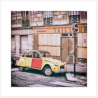 2CV, Montmartre, France - Colour version. Inkjet pigment print on Canson Infinity Rag Photographique 310gsm 100% cotton museum grade Fine Art and photo paper.<br />