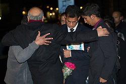 © licensed to London News Pictures. London, UK 10/12/2012. Family of Nurse Jacintha Saldanha hugging Labour MP Keith Vaz outside the Houses of Parliament on 10/12/12. Photo credit: Tolga Akmen/LNP