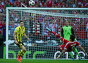 (L) Robert Lewandowski of Dortmund fights for the ball with (R) Mario Mandzukic of Monachium during the UEFA Champions League Final football match between Borussia Dortmund and Bayern Munich at Wembley Stadium in London on May 25, 2013...England, London, May 25, 2013..Picture also available in RAW (NEF) or TIFF format on special request...For editorial use only. Any commercial or promotional use requires permission...Photo by © Adam Nurkiewicz / Mediasport