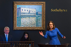 © Licensed to London News Pictures. 26/02/2019. LONDON, UK. Helena Newman, Chairman of Sotheby's Europe and Worldwide Head of Impressionist & Modern Art, manages bids for ''Le Palais Ducal'' by Claude Monet, (Est. £20,000,000 - 30,000,000) which sold for a hammer price of £24,000,000 at Sotheby's Impressionist, Modern and Surrealist Art Evening Sale in New Bond Street.  Photo credit: Stephen Chung/LNP