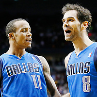 07 December 2013: Dallas Mavericks shooting guard Monta Ellis (11) celebrates his game winning shot at the buzzer with 1.9 second remaining with Dallas Mavericks point guard Jose Calderon (8) during the Dallas Mavericks 108-106 victory over the Portland Trail Blazers at the Moda Center, Portland, Oregon, USA.