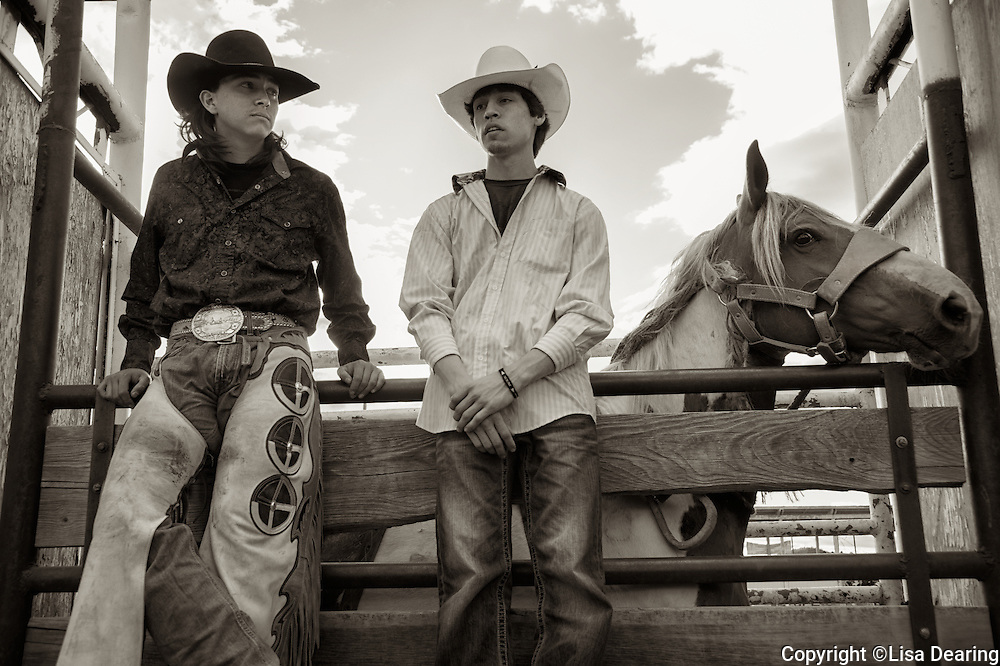 Two Native American Cowboys at Rodeo, Montana
