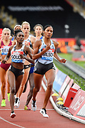 Ajee Wilson (USA), right, leads Natoya Goule (JAM) left as she goes on to win the women 800m in a time of 2.00.76 during the Birmingham Grand Prix, Sunday, Aug 18, 2019, in Birmingham, United Kingdom. (Steve Flynn/Image of Sport via AP)