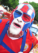 A fan of Costa Rica arrives at the stadium prior to the 2014 FIFA World Cup match at the Itaipava Arena Fonte Nova, Nazare, Bahia<br /> Picture by Stefano Gnech/Focus Images Ltd +39 333 1641678<br /> 05/07/2014