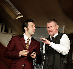 Lady Killers.<br /> Ralf Little (Harry) and John Gordon Sinclair (Professor Marcus) on stage in the Lady Killlers Vaudeville Theatre<br /> London, United Kingdom<br /> Monday, 8th July 2013<br /> Picture by Mike  Webster / i-Images