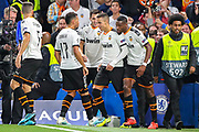 Goal Valencia CF forward Rodrigo (19) scores a goal and celebrates 0-1 during the Champions League match between Chelsea and Valencia CF at Stamford Bridge, London, England on 17 September 2019.