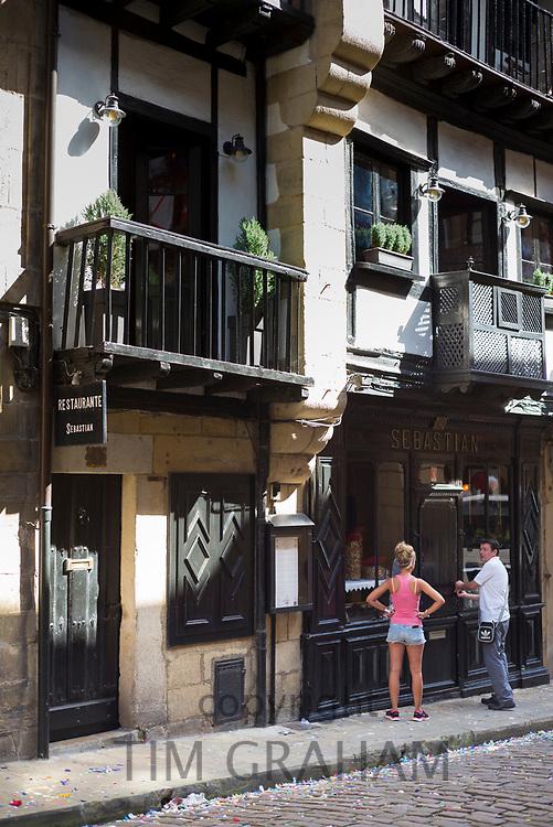 Traditional Restaurant Sebastian in old town Hondarribia, in Gipuzkoa, Basque Country, Spain