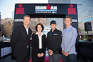 Geoff Meyer (CEO Ironman Asia-Pacific), The Hon. Louise Asher MP (Victorian State Minister for Tourism and Major Events), Luke McKenzie (AUS) and Luke Bell (AUS), March 19, 2014 - Ironman Triathlon : At the media conference with The Hon. Louise Asher MP (Victorian State Minister for Tourism and Major Events). Media Conference, Federation Square, Melbourne, Victoria, Australia. Credit: Lucas Wroe