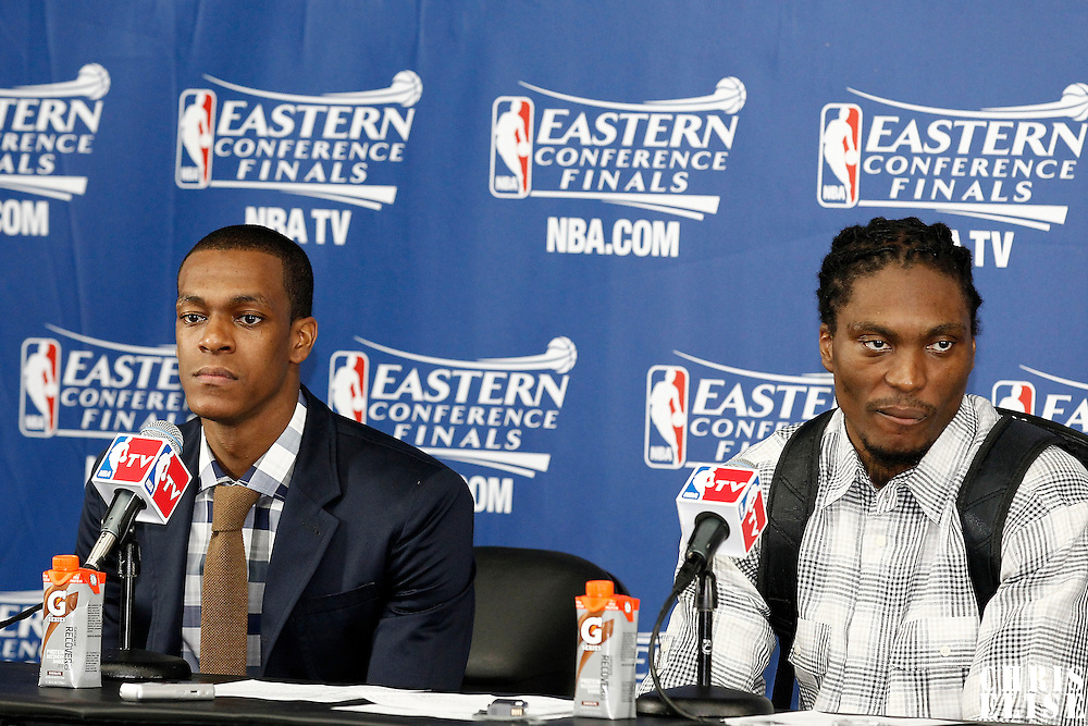 01 June 2012: Boston Celtics point guard Rajon Rondo and Boston Celtics shooting guard Marquis Daniels are seen during the press conference following the Boston Celtics 101-91 victory over the Miami Heat, in Game 3 of the Eastern Conference Finals playoff series, at the TD Banknorth Garden, Boston, Massachusetts, USA.