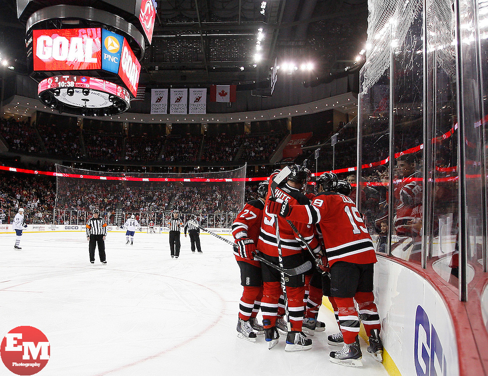 Jan 29, 2010; Newark, NJ, USA; The New Jersey Devils celebrate a goal by New Jersey Devils center Dainius Zubrus (8) during the second period at the Prudential Center.