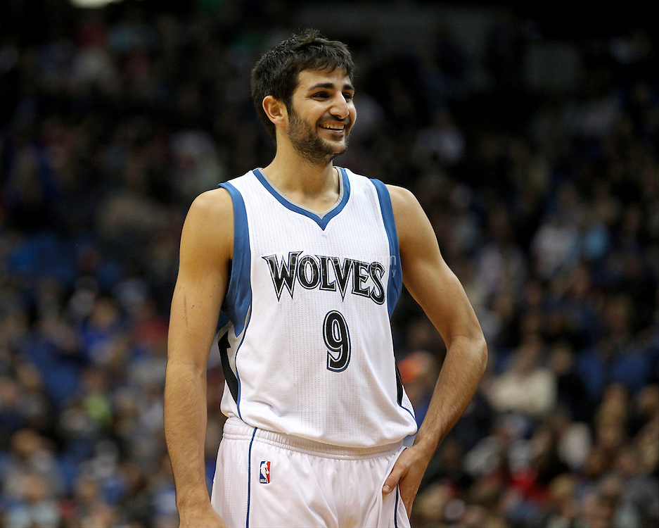 Nov 1, 2014; Minneapolis, MN, USA; Minnesota Timberwolves guard Ricky Rubio (9) smiles during the second quarter against the Chicago Bulls at Target Center. The Bulls defeated the Timberwolves 106-105. Mandatory Credit: Brace Hemmelgarn-USA TODAY Sports