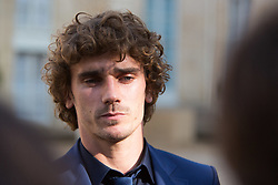 France's national Antoine Griezmann speak to the press leaves after receiving the Legion of Honour during a ceremony to award French 2018 football World Cup winners, on June 4, 2019, at the Elysee Palace in Paris. Photo by Raphael Lafargue/ABACAPRESS.COM