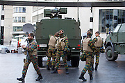 Nov. 22, 2015 - Brussels, BELGIUM - 20151122 - BRUSSELS, BELGIUM: <br /> <br /> soldiers at Bruxelles Central-Brussel Centraal railway station , Sunday 22 November 2015, in Brussels. The terrorist threat level was updated to level four, the maximum, in Brussels region, and stays at level three for the rest of the country. Shopping center, main shopping streets, subways and public events are closed and cancelled for the week-end because of the terrorist threat level four. <br /> ©Exclusivepix Media