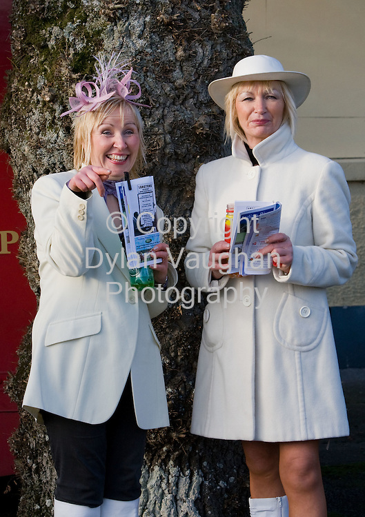 24/1/2008.Over 8,000 fans from across the region attended Thyestes race day at Gowran Park Golf and Race Course..Pictured enjoying the day was Marie and Bridget Carroll from Mount Loftus..Picture Dylan Vaughan.