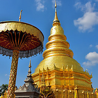 Phra Maha That Chedi at Wat Phra That Hariphunchai in Lamphun, Thailand<br />