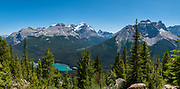 Wapta Lake, seen from an abandoned fire lookout on Paget Peak in Yoho National Park, British Columbia, Canada. A glacier tops Mount Victoria North Peak. On the right is Cathedral Mountain. This image was stitched from multiple overlapping photos.