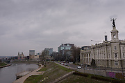 Crossing the Neris River into the Snipiskes neighborhood of Vilnius, Lithuania
