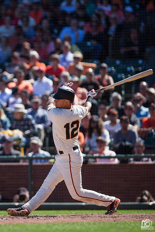 San Francisco Giants second baseman Joe Panik (12) takes a swing against the Arizona Diamondbacks at AT&T Park in San Francisco, Calif., on August 31, 2016. (Stan Olszewski/Special to S.F. Examiner)