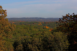 10 Oct 2011: Spectacular view of Brown County showing the colors of autumn.  Rural Indiana, specifically in or close to Brown County. This image was produced in part utilizing High Dynamic Range (HDR) or panoramic stitching or other computer software manipulation processes. It should not be used editorially without being listed as an illustration or with a disclaimer. It may or may not be an accurate representation of the scene as originally photographed and the finished image is the creation of the photographer.