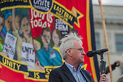 The May Day March from Clerkenwell Green ending with a rally in Trafalgar Square - against cuts and anti 'Trade Union laws. Speakers included John McDonnell MP, Mark Serwotka PCS General Secretary and KiriTunks NUT Vice-President. It was supported by several trade unions including UNITE, PCS, ASLEF, RMT, TSSA, NUT, FBU, GMB and UNISON as well as the Peoples Assembly, Pensioners' organisations and organisations representing migrant workers & communities.